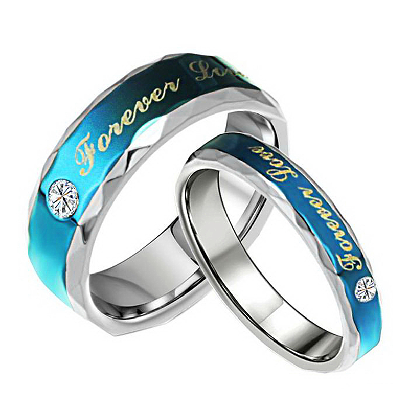 Forever Love Blue Couple Ring 316L Stainless Steel Jewelry His and