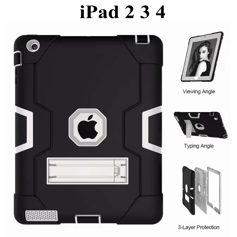 New Armor Case For IPad 2 3 4 Funda  Kids Safe Heavy Duty Silicone Hard Cover For Apple Ipad 234 9.7 Inch Tablet Case+film+pen