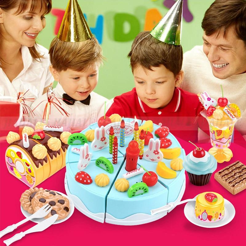11 Piece Imitazione Gioco di Ruolo Cucina Giocattolo Buon Compleanno Cibo Torta