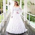 New Royal Tribunal Vestido de Noiva Top Lace Flores Vestido de Casamento Mangas Compridas Uma Linha Vintage Vestidos De Novia 2017