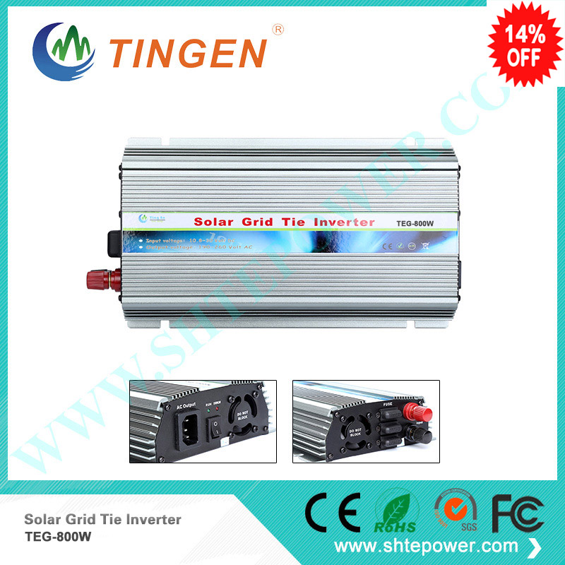 DC solar inverter 800w dc input 12v 24v to ac output pure sine wave grid tie on mini mppt inverters solar micro inverters ip65 waterproof dc22 50v input to ac output 80 160v 180 260v 300w