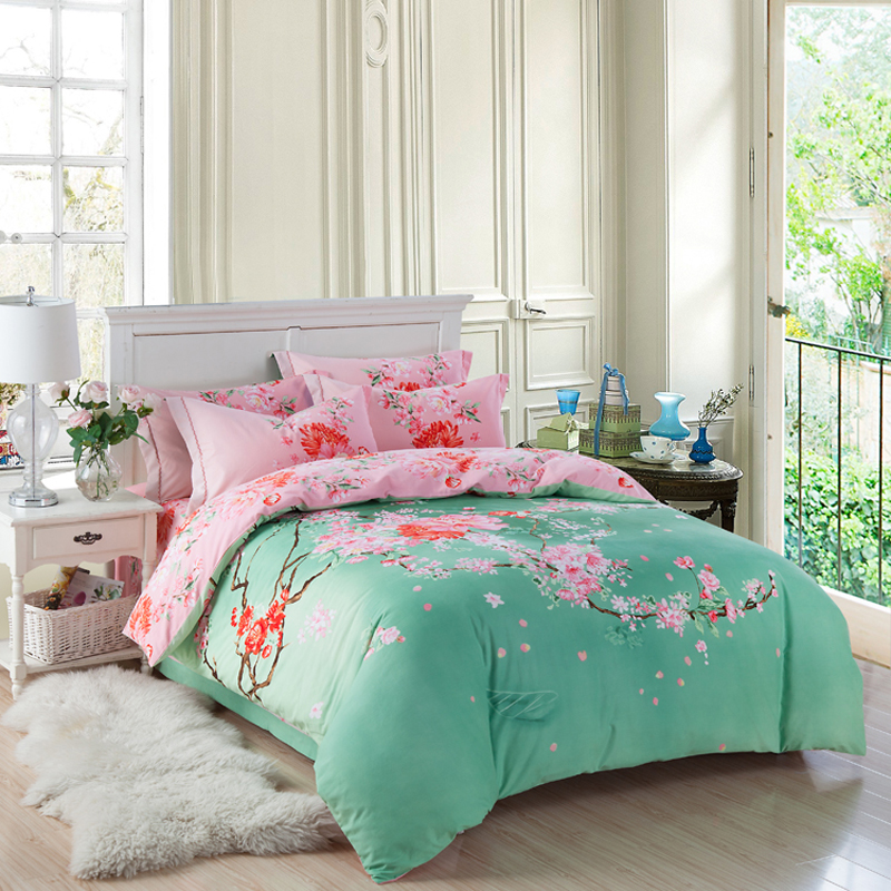 100% Brushed Cotton Oriental Bedding Set Queen King Size Exotic Pink Floral  Bed Sheets Pink Peach And Peony Green Duvet Cover In Bedding Sets From Home  ...
