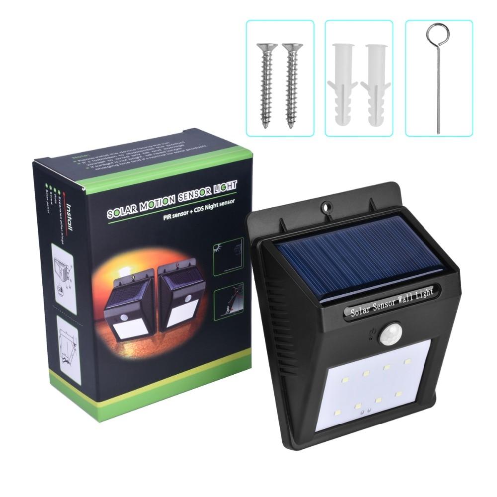 Espow 8LED Solar Light Super Bright Outdoor PIR Rörelsessensor Belysning Vattentät lampa för trädgård Trädgårdsgardineringsväg