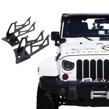 Шарнир для лобового стекла нижний угол кронштейны для двойной светодиодный свет работы на 2007- Jeep Wrangler JK