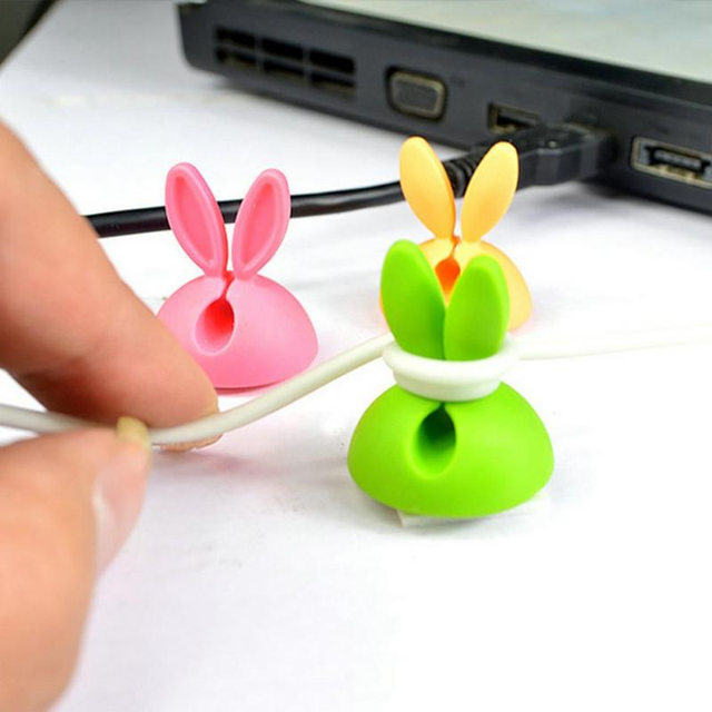 4PCS Desk Earphone Micro Type-C USB Cable Winder Magnetic Clip Universal Wire Line Protector Organizer Clip Holder Management