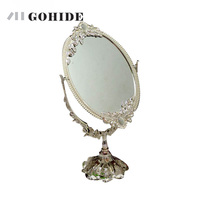 DUH Luxury Fashion Home Decoration Double Faced Mirror Silver Dressing Makeup Table Mirror Oval Laciness Metal Mirror