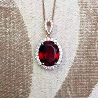 KJJEAXCMY boutique jewelry,Garnet female Necklace Pendant with natural S925 silver rose gold set with Sterling Silver