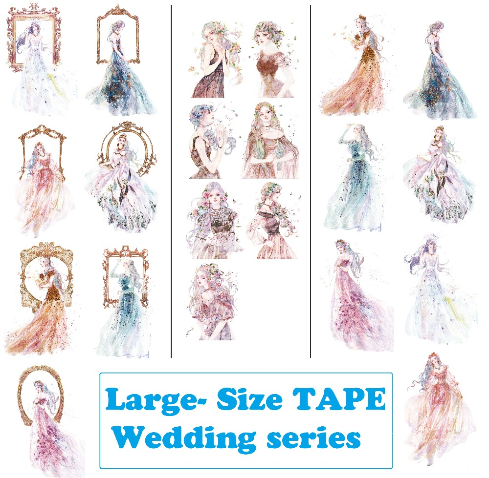 3Designs Large Size HighQuality Wedding Beauty Girls Japanese Washi Decorative Adhesive Tape DIY Masking Paper Tape Sticker gift 1roll 35mmx7m high quality rabbit home pattern japanese washi decorative adhesive tape diy masking paper tape label sticker gift page 6
