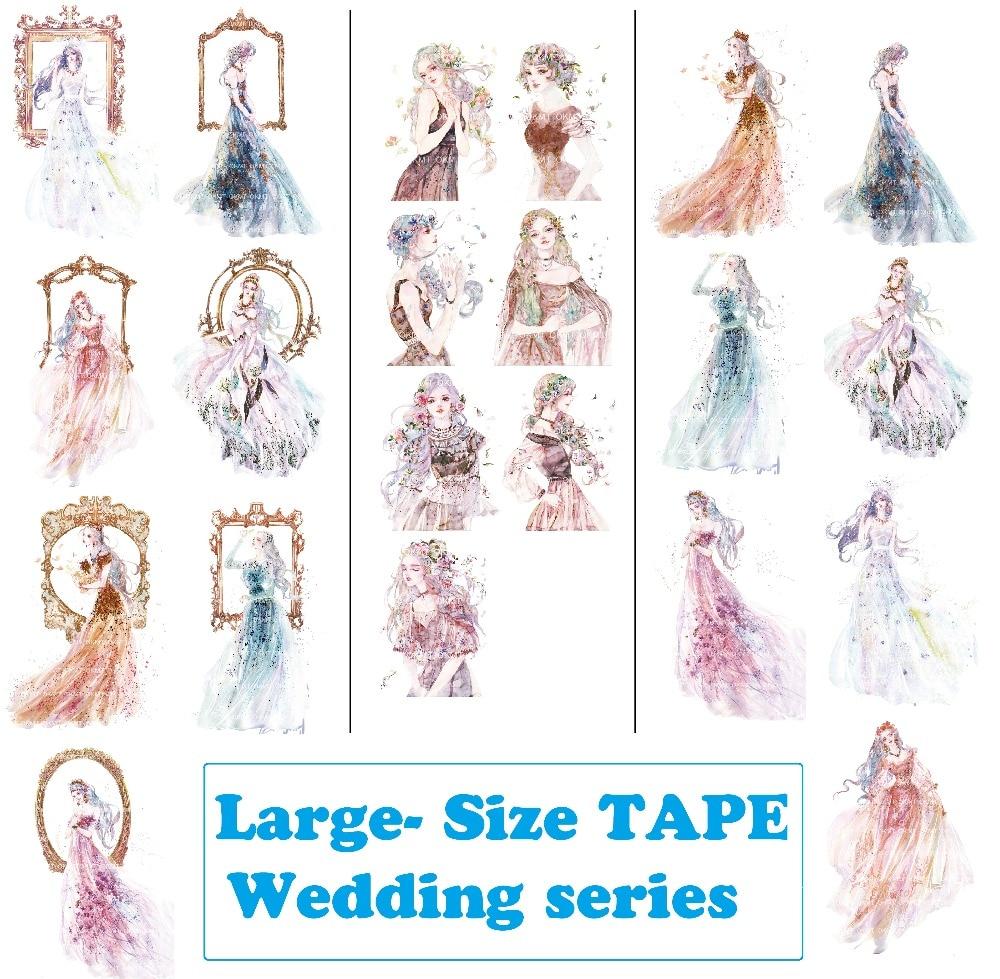 3Designs Large Size HighQuality Wedding Beauty Girls Japanese Washi Decorative Adhesive Tape DIY Masking Paper Tape Sticker Gift