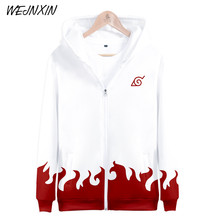 New Arrival Anime 3D Printing Hoodies Naruto Yondaime Hokage Zipper Jacket White Red Hooded Sweatshirt Hip Hop Moletom Unisex(China)