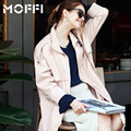 2016 Women Trench Coat Autumn Pink Lace Long Coat Long Sleeve Turn Down Collar With Blet Windbreker Coat MF165158