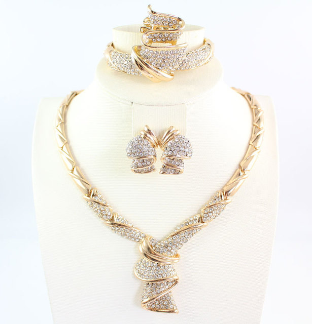 Gold Plated Crystal Wedding Necklace Bangle Earring Ring Fine Jewelry Set