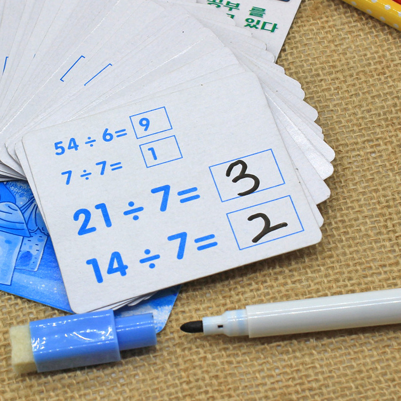 One Set Kids Mathematics Kindergarten Teaching Erasable Card With Pen Reusable Preschool Learning Tools Educational Toys Gifts