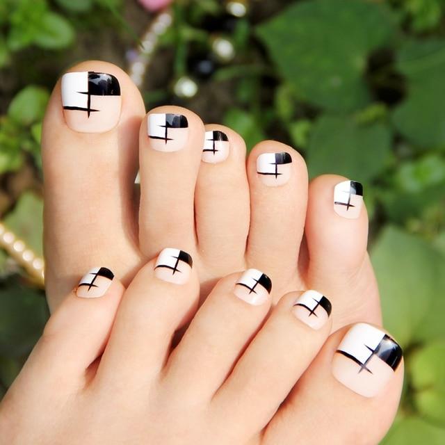 Stylish Black White Grid False Toe Nail Art Displaytoe Nail Art