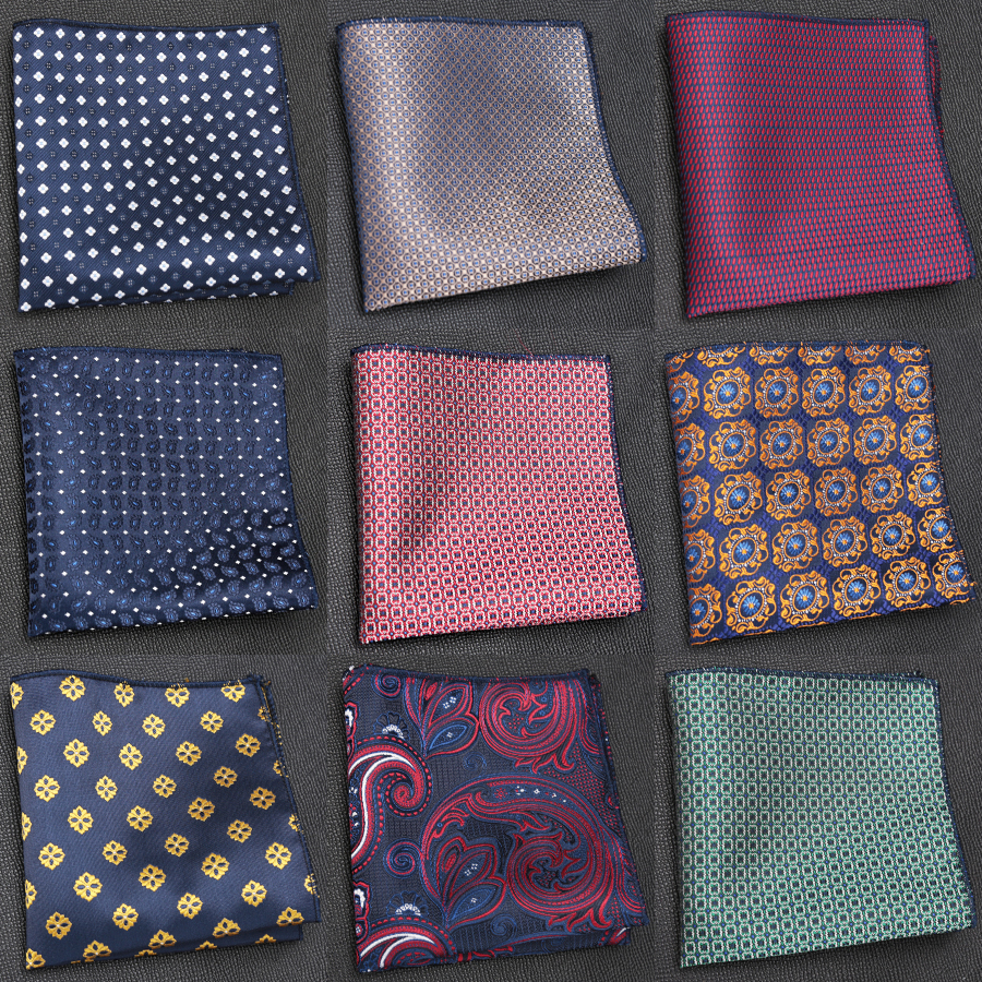 Mens Cravat Luxury Jacquard Tie Gifts For Men Embroidery Paisley Handkerchief Pocket Square Chest Towel Hankies Accessories