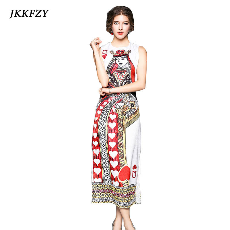 Women Dress 2018 High Quality Spring Summer Runway Dresses O neck Sleeveless Playing cards Printed Long