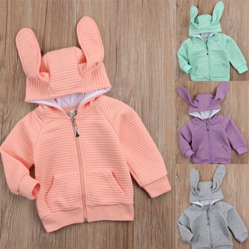 2018 Симпатичные для маленьких детей для девочек и мальчиков Костюмы с длинным рукавом 3D уши кролика с капюшоном зимнее теплое пальто куртка-...