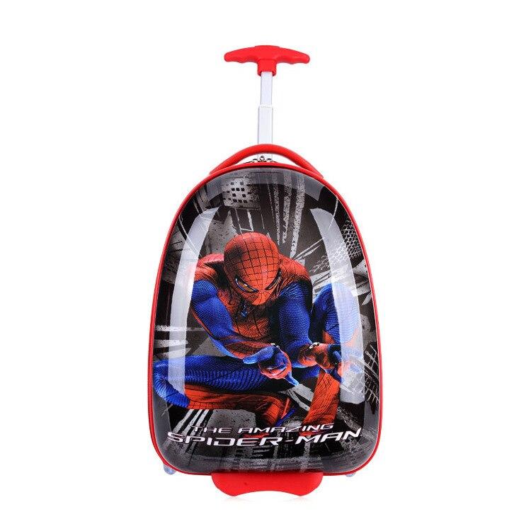 Boys Spiderman Suitcase On Wheels/Cartoon Egg Shaped Trolley Case ...
