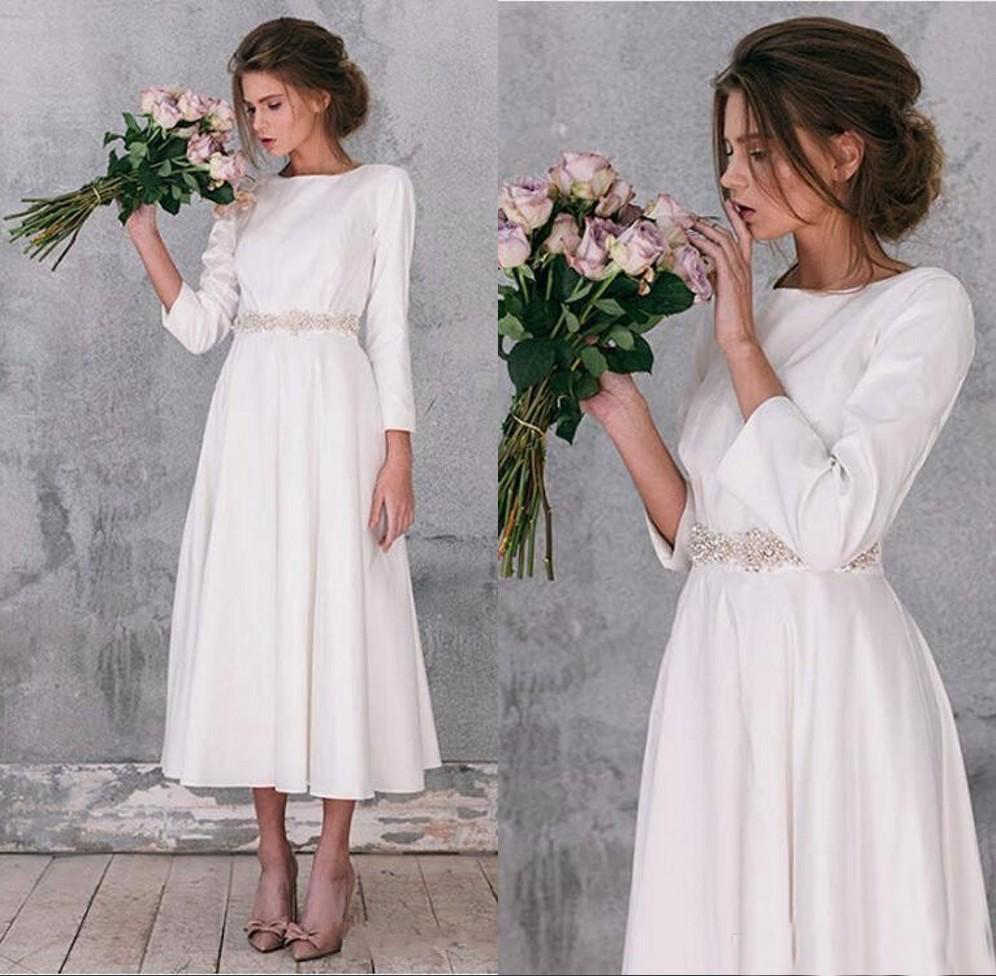 Modest Long Sleeve Wedding Dresses A Line Tea Length Gorgeous