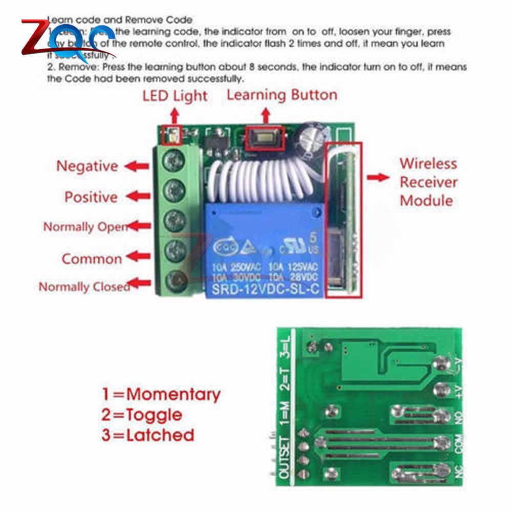 DC 12V 1 receptor de canal 315MHz 433MHz módulo de relé inalámbrico interruptor de Control remoto de RF receptor helicoidal 10A