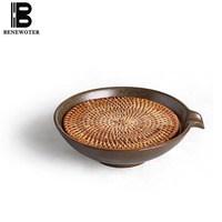 6.5 Inch Vietnamese Style Handmade Rattan Pottery Tray for Teapot Gaiwan Coffee Pot Tray Plate Coffee & Tea Accessories