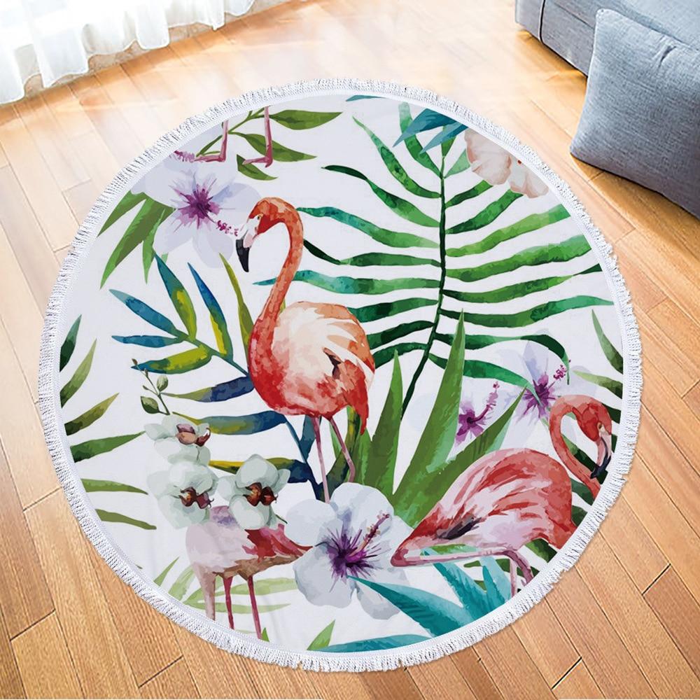 Monily plantes tropicales ronde serviette de plage flamants roses Monstera impression gland tapisserie en peluche tapis de Yoga voyage pique-nique en plein air tampons