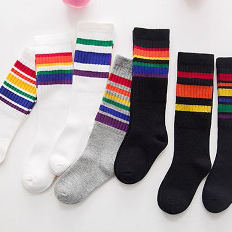 1-6 year Children Winter old Warm Knee High Socks Cute Rainbow Autumn Calf Length Tube Crew Socks For Child Toddler Fashion Soft