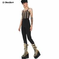 ERDAOBEN 2018 women's button brand Bodysuit Bandage Jumpsuit H5329