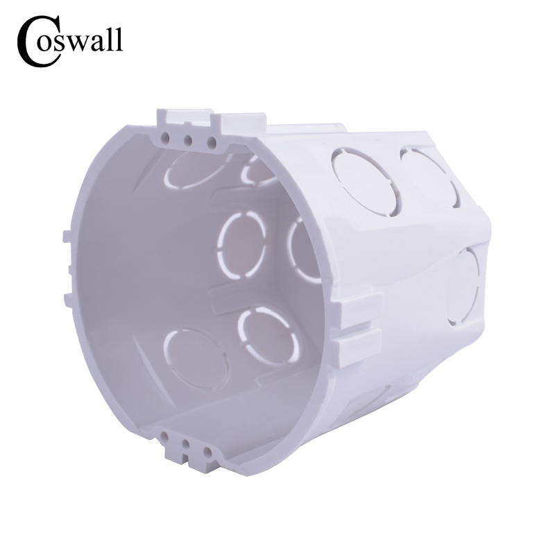 Coswall EU Standard, Wall Round Mounting Box, Internal Cassette, Wiring Box, White Back Box For EU Switch And Socket