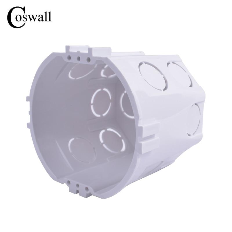 Coswall EU Standard, Wall Round Mounting Box, Internal Cassette, Wiring Box, White Back Box For EU Switch And Socket
