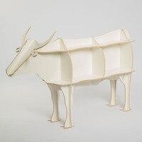 Original Design Luxury European DIY Side Desk Arts Crafts Home Decoration Wooden Cow Cattle Ox Wood