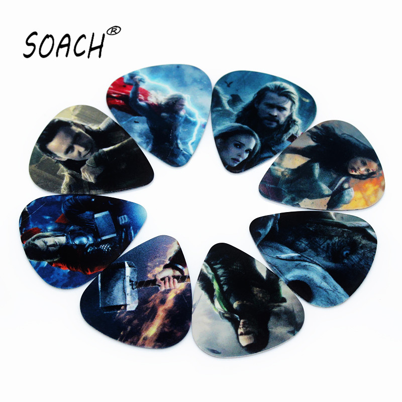 SOACH 10PCS 0.71mm High Quality Guitar Pick Two Side Pick Acoustic Guitarra Picks Earrings DIY Mix Picks Guitar