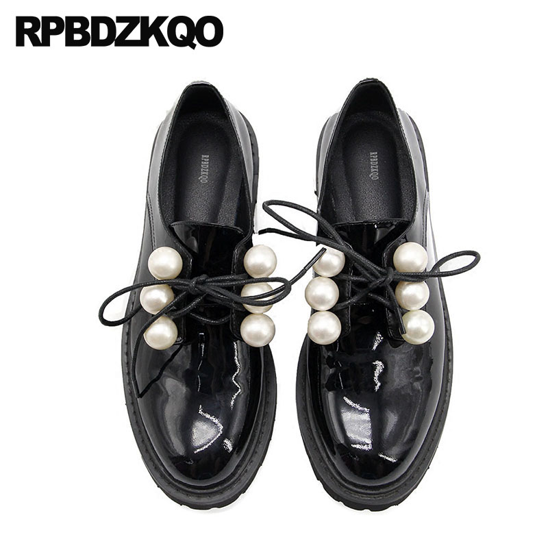 Patent Leather White Luxury Designer Vintage Women Oxfords Shoes Flats Genuine Black Japanese School Lace Up Pearl Round Toe suberry women thick heel oxfords brogue flats shoes 2017 fashion genuine leather lace up pointed toe luxury brand white black