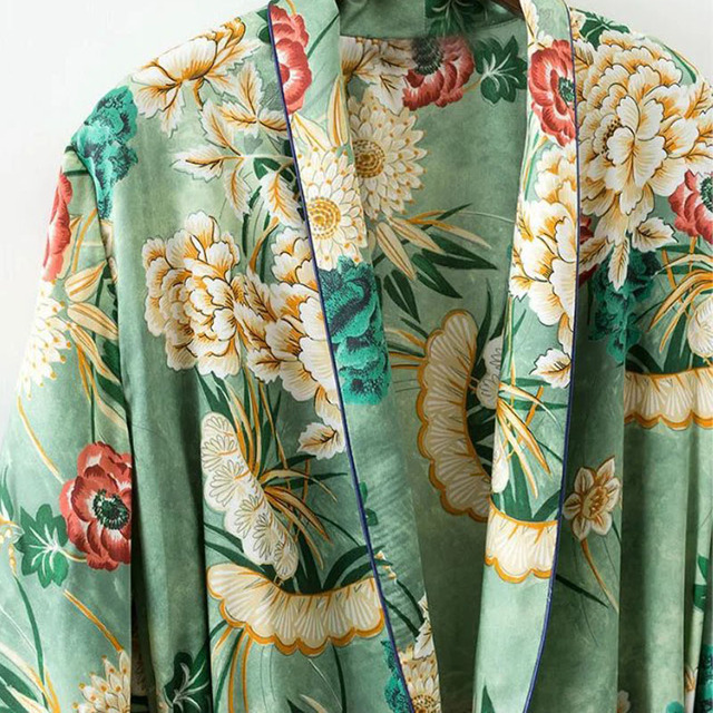 X192 women vintage floral print green color long design jacket kimono outwear ladies summer double pockets with belt jackets top 2