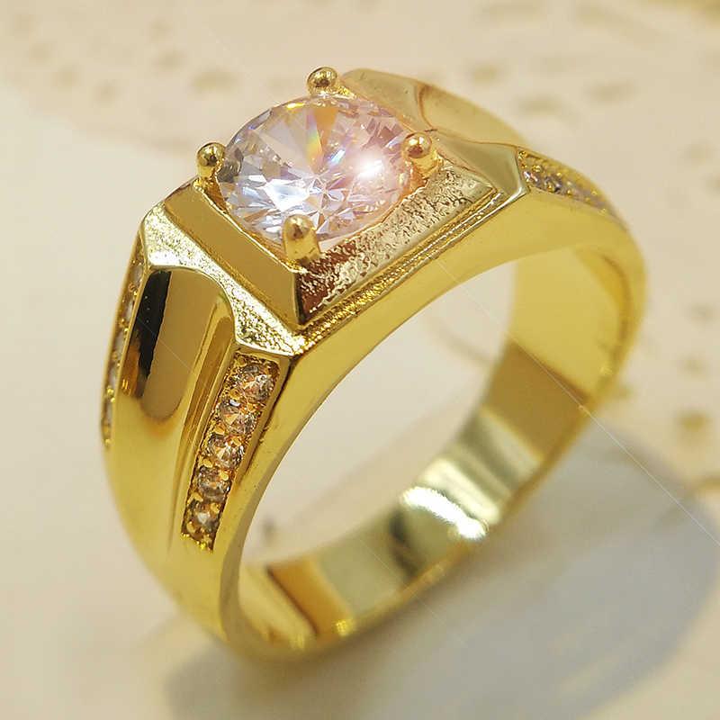 YHAMNI 100%แข็ง925แหวนเงินสีทองที่มี1 ct 6มิลลิเมตรCZเพทายแหวนหมั้นสำหรับผู้ชายเครื่องประดับจัดงานแต่งงานของขวัญRA0116