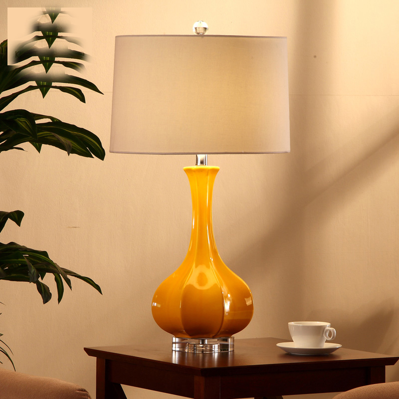 Luxury fashion orange ceramic table lamp luxury bedroom bedside lamp with crystal base decoration lamp abajur led in table lamps from lights lighting on
