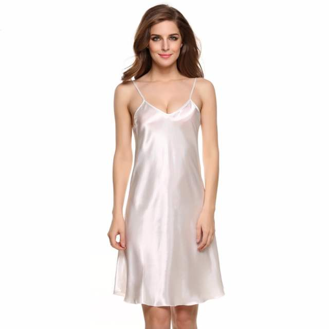 8b310da1c placeholder Hot Summer Satin Nightwear Sexy Silk Nightgown Women Short Mini  Sleepwear Nightdress Full Slip Bride Nighties