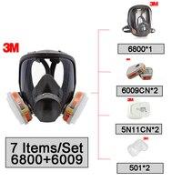 3 м 6800 + 6009 защитные Полнолицевая многоразовый противогаз маска дыхательного Mercury органических паров и хлора кислых газов LT053