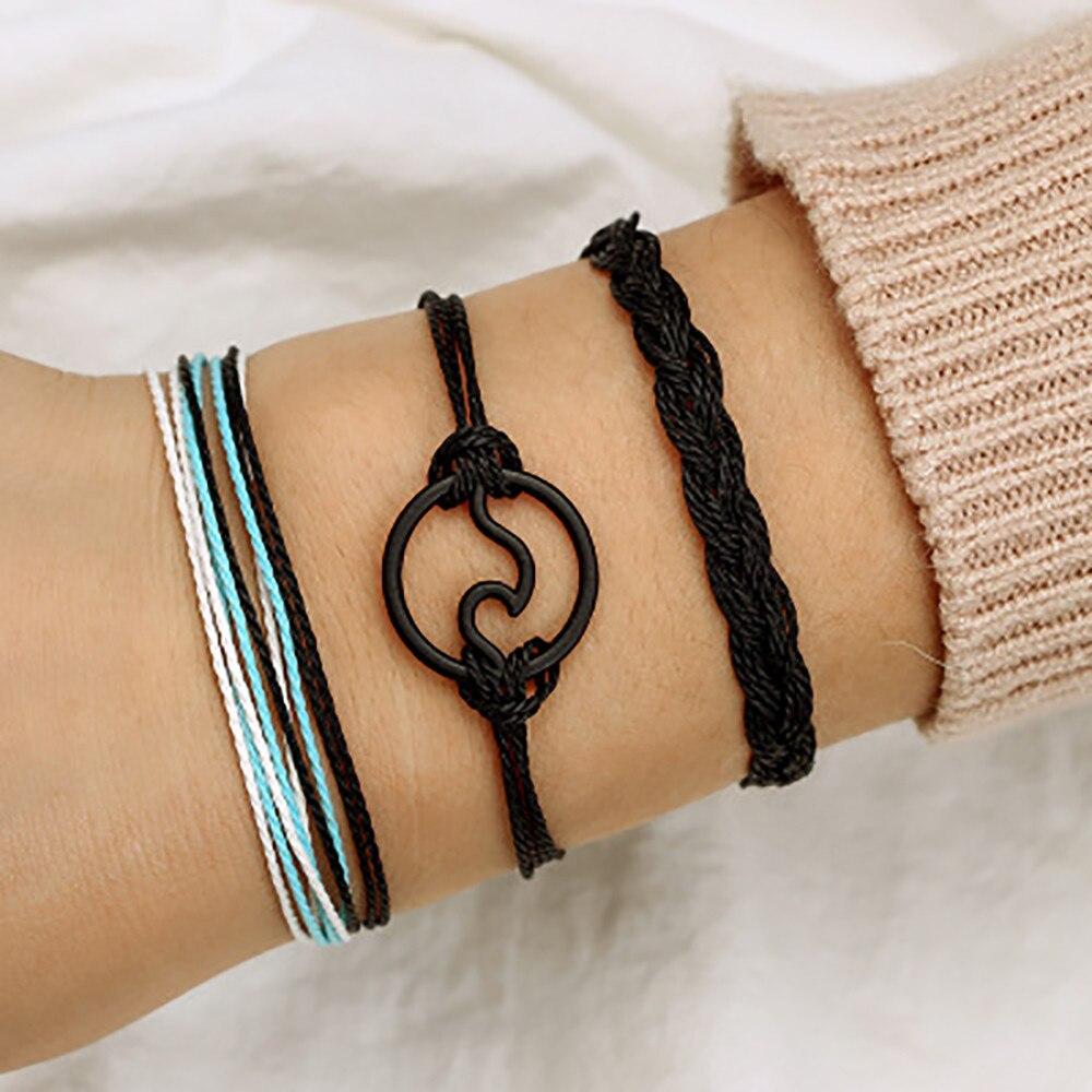 Bracelet Men Women Bohemian Wax Line Braided Bracelet Alloy Handmade Hemp Rope Bracelet Set line art