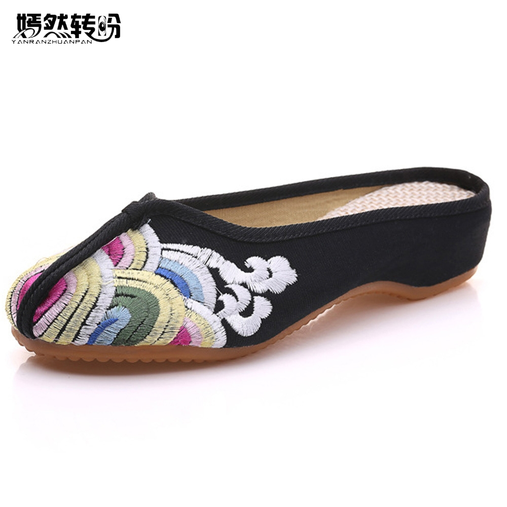 New Summer Women Slippers Black Cotton Chinese Old Peking Flat Sandals Wave Embroidered Elegant Ladies Cloth Shoes Sandalias mnixuan women slippers sandals summer