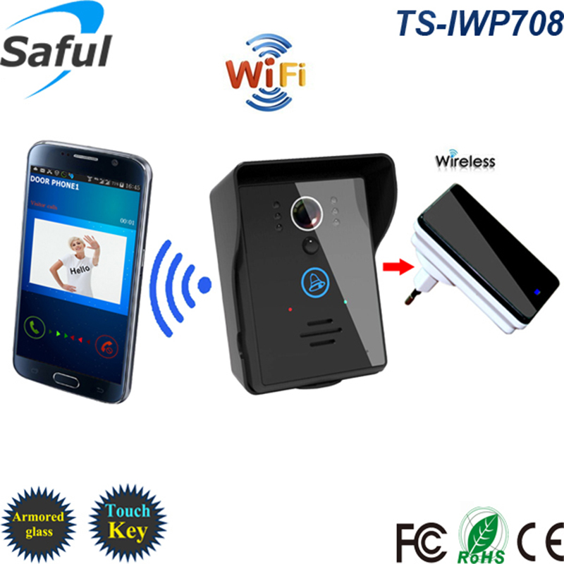 Saful Wifi Ip Video Door Phone Intercom System With Indoor Doorbell Night Vision Detection Supporting Android & ios APP 2015 free shipping wifi video door phone door bell intercom systems app can be run in android and ios devices