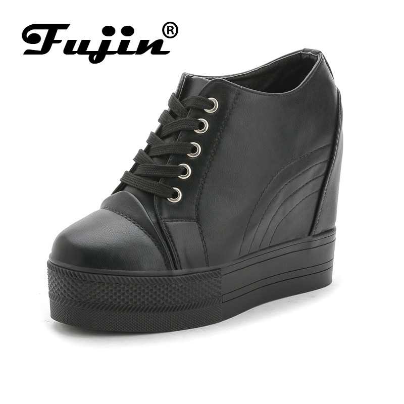 Fujin Brand 2017 thick sole Summer Autumn Women wedge shoes breathable platform pumps with wedges heel white black female pumps fashion womens casual shoes 2017 spring summer breathable women canvas shoes brand soft thick sole classic black white th085