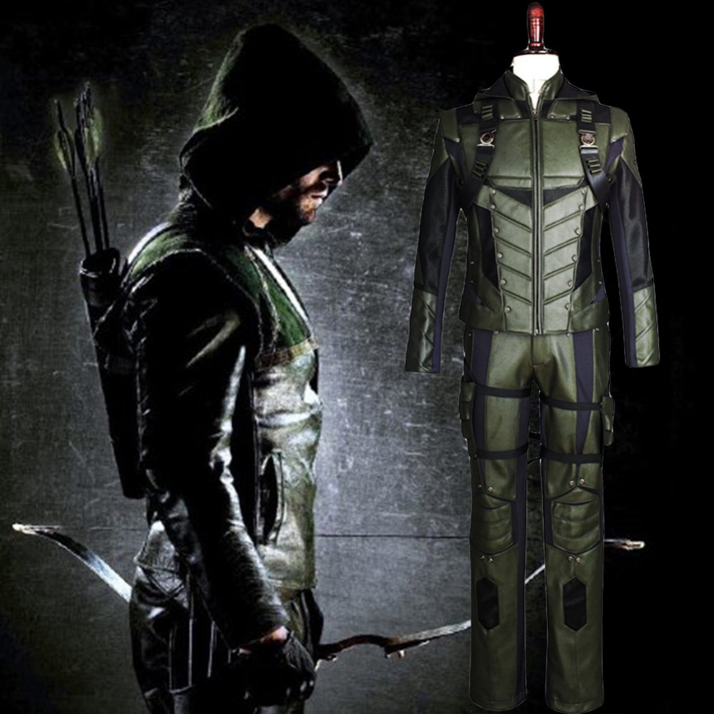 Green Arrow season 5 cosplay costume Adult men fancy Halloween costumes Oliver Queen Green Arrow Costume Full Set Uniform