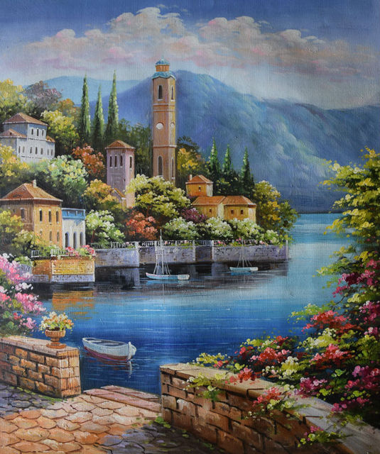 Mediterranean Style Houses With Ocean Views: HandPainted European Style Oil Painting On Canvas