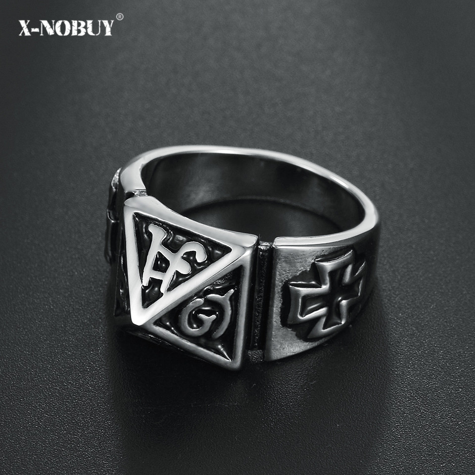 X-NO BUY Fashion Rock Retro Religion Cross Mens Ring Punk Style Stainless Steel Male Party Finger Jewelry Gift anillo calavera