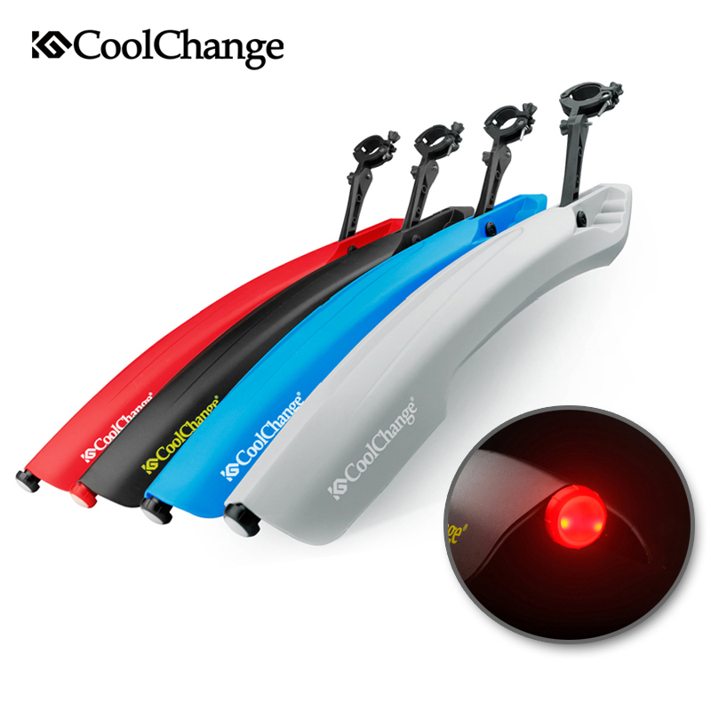 CoolChange Flectional Mountain Cycling Front Rear Mudguard Set Bicycle Durable <font><b>Fenders</b></font> With LED Light Plastic Bike Fende