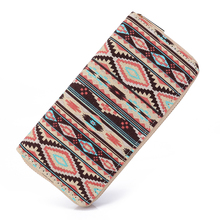 Sansarya 2017 Boho Striped Printing Canvas Long Women Wallet Ladies Card Holder Tribal Female Purse Bag With Cupreous Zipper