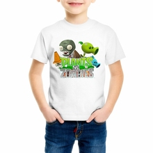cartoon game pattern boys t shirts Plants vs zombies clothing Children clothes O-Neck T-shirt plants vs zombies children 55C-14