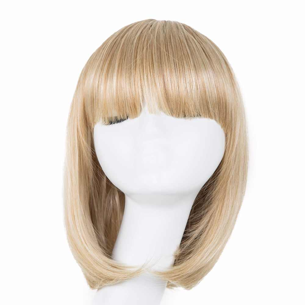 Fei-Show Blonde Wig Fei-Show Synthetic Heat Resistant Fiber Bangs Short Wavy Bob Hair High Temperature Women Carnival Hairpiece