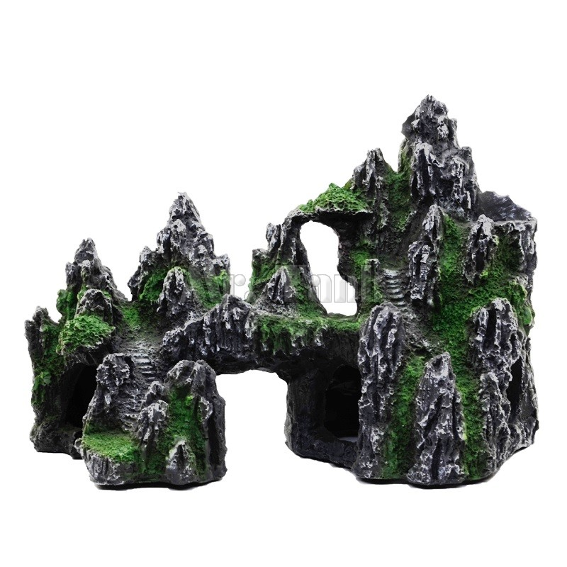 Mr Tank Artificial Rockery Aquarium Ornament For Fish Tank Resin Cave Bridge Mountain View Landcape Aquarium